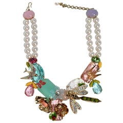 Philippe Ferrandis Glass Pearl and Swarovski Crystal Samarkand Necklace