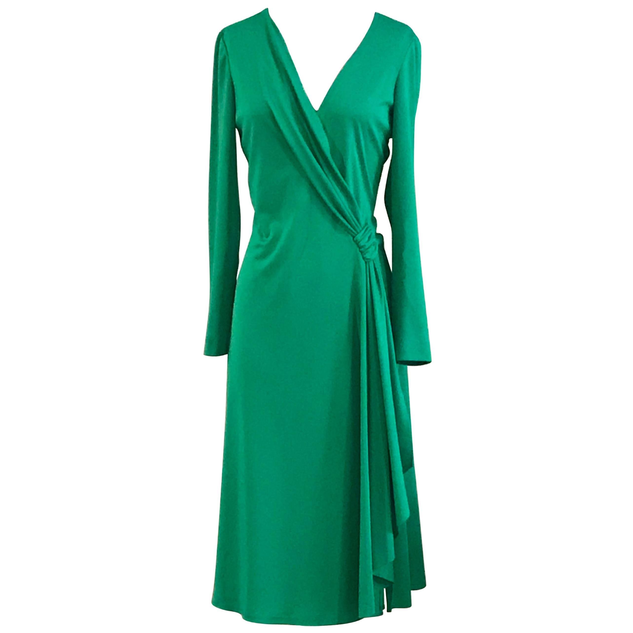 Stephen Burrows Green Draped Lettuce Edge Jersey Dress, 1970s