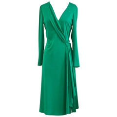 Stephen Burrows Green Draped Lettuce Edge Jersey Dress, 1970s
