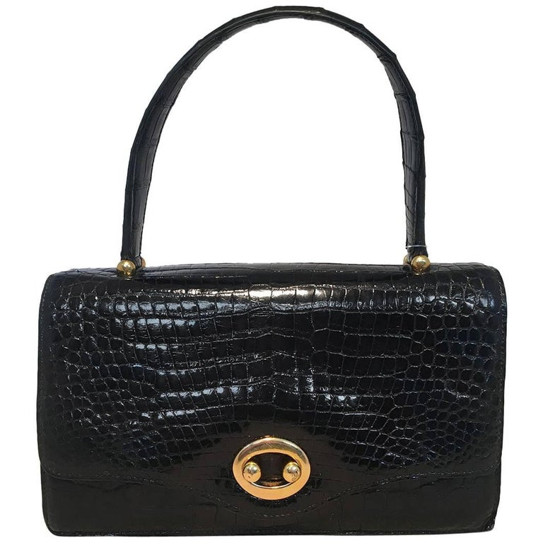 Hermes Vintage Black Alligator Handbag, circa 1960s For Sale
