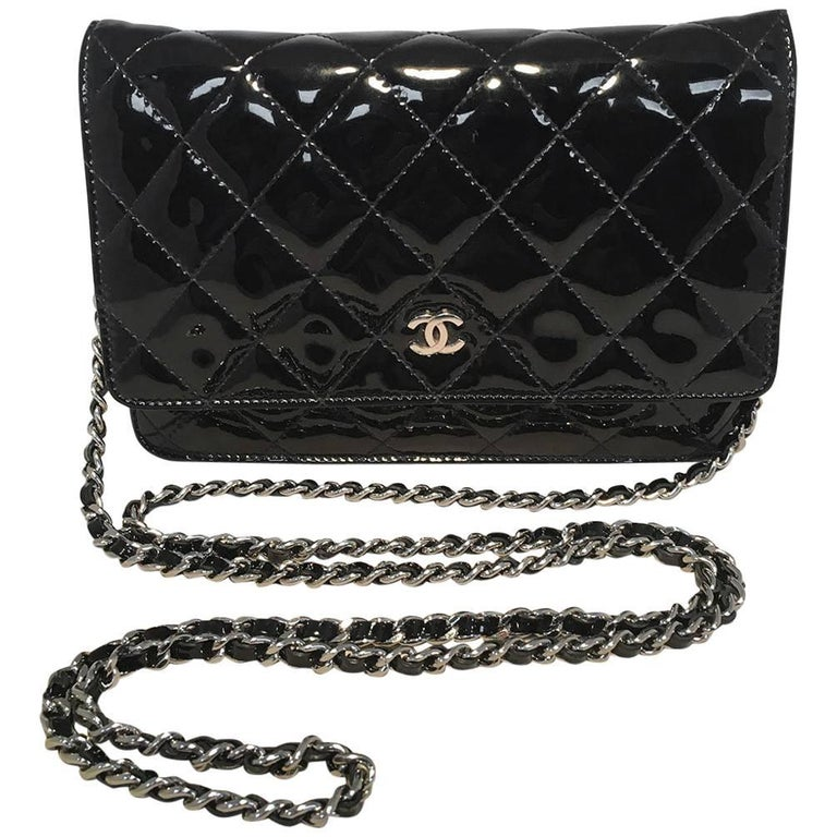 Chanel Black Patent Quilted WOC Wallet on a Chain Shoulder Bag For Sale 4e82eaf6934d0