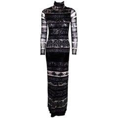 Jean Paul Gaultier Soleil Bodycon Black, Grey & Beige Mesh Abstract Print