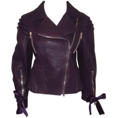 Alexander McQueen Violet Pebble Leather Multi Zippered Moto Jacket