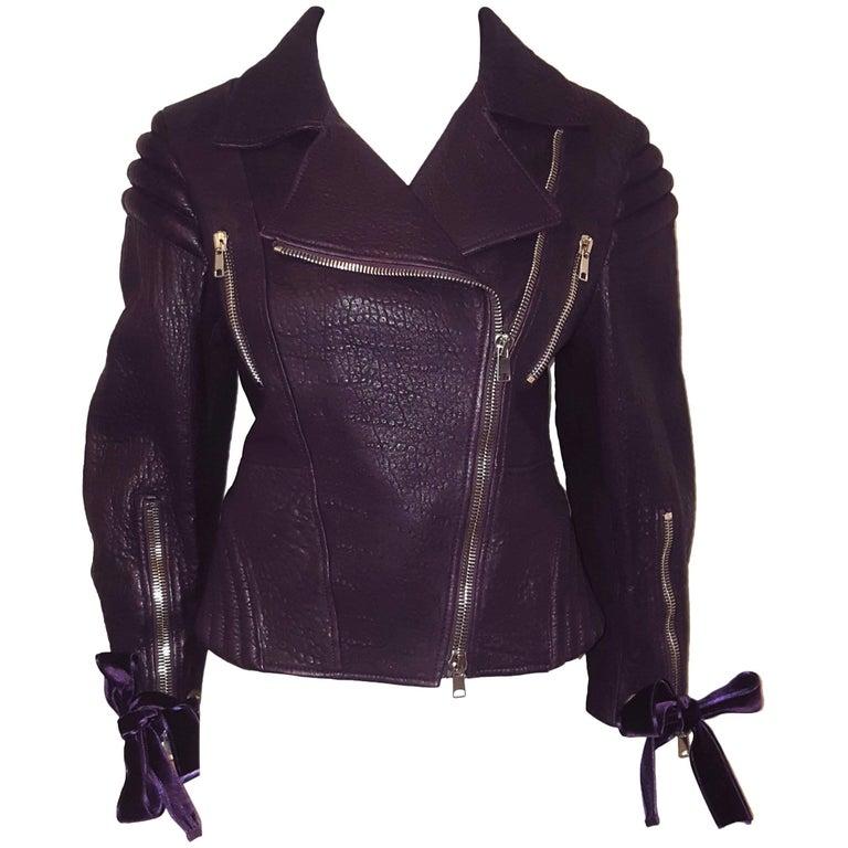 Alexander McQueen Violet Pebble Leather Multi Zippered Moto Jacket