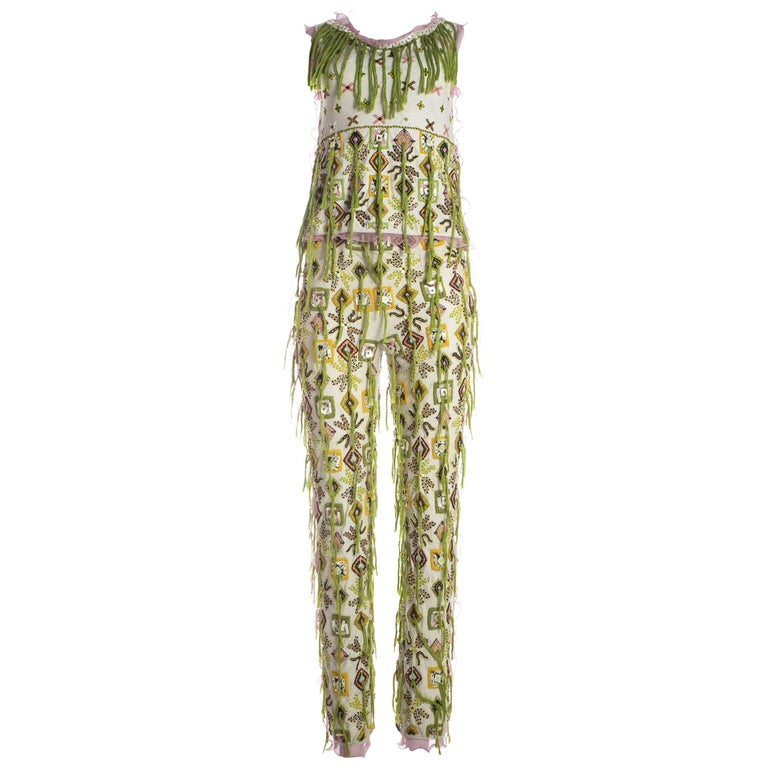 Fendi embroidered cotton pant suit fringed with silk thread, S / S 2000