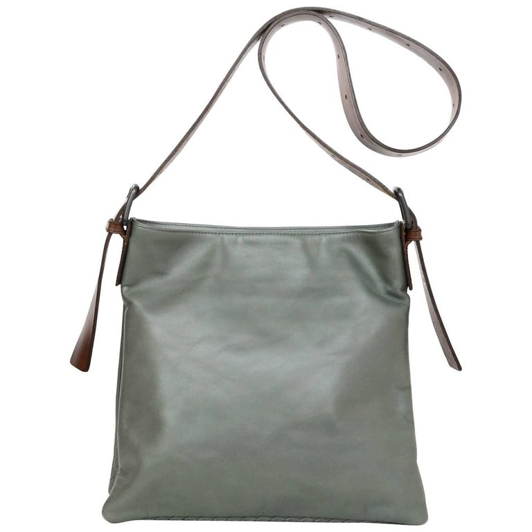 Bottega Veneta Olive Green Leather Crossbody Bag with Dust Bag