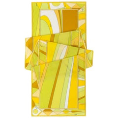 EMILIO PUCCI Yellow Multicolor Geometric Signature Print Silk Oblong Scarf