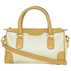 Gucci Vintage Beige & Tan Monogram Boston Bag w. Strap