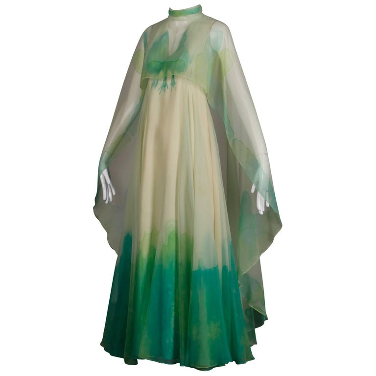 1970s Dan Lee for Lillie Rubin Vintage Hand Painted Chiffon Cape Maxi Dress Gown