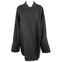 Jil Sander Vintage Oversized Black Collared Lapel Coat