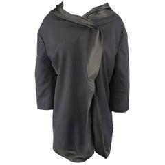 Yohji Yamamoto Black Satin Velcro Trim Jacket
