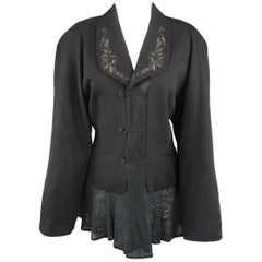 Matsuda Black Embroidered Lapel Moire Burnout Peplum Jacket