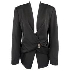 Issey Miyake Vintage Black Wool Origami Closure Jacket