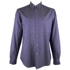 Versace Men's Indigo Purple Harlequin Diamond Checkered Cotton Long Sleeve Shirt