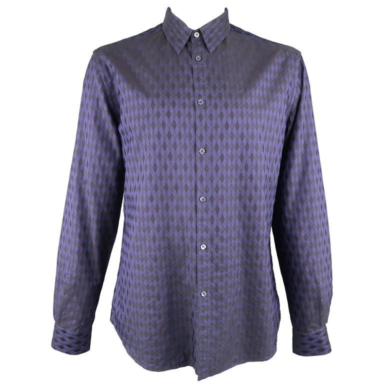 c58a3fbcd Versace Men's Indigo Purple Harlequin Diamond Checkered Cotton Long Sleeve  Shirt For Sale