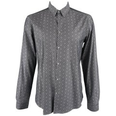 Versace Men's Gray Checkered Cross Pattern Cotton Long Sleeve Shirt