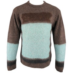 Gianni Versace Taupe and Aqua Blue Color Block Textured Pullover Sweater