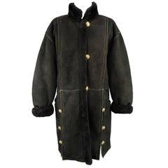 Yves Saint Laurent Coat - Vintage Black shearling Gold Hooded Jacket