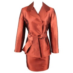 Dolce & Gabbana Copper Red Silk Taffeta Sash Belt Skirt Suit