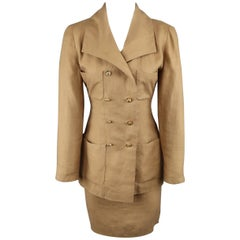 Chanel Vintage Tan Linen Double Breasted Skirt Suit, 1990