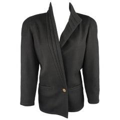 Gianni Versace Vintage Black Wrap Collar Coat, 1980s
