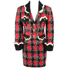 Moschino Red Houndstooth Wool Scalloped Trim Skirt Suit