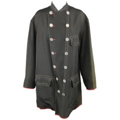 Jean Paul Gaultier Black Canvas Red Trim Oversized Military Coat