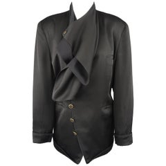 Matsuda Black Satin Draped Collar Double Breasted Jacket