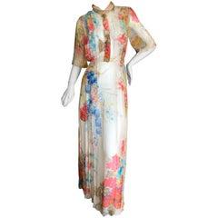 Cardinali Elegant Pleated Ivory Floral Silk Short Sleeve Evening Dress