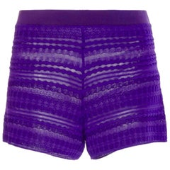 Missoni Purple Crochet Knit Shorts Hot Pants
