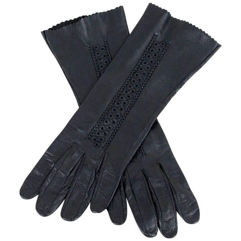 Smooth Black Leather Gloves with Cut Out Detailing and Ornamental Seams, 1960s