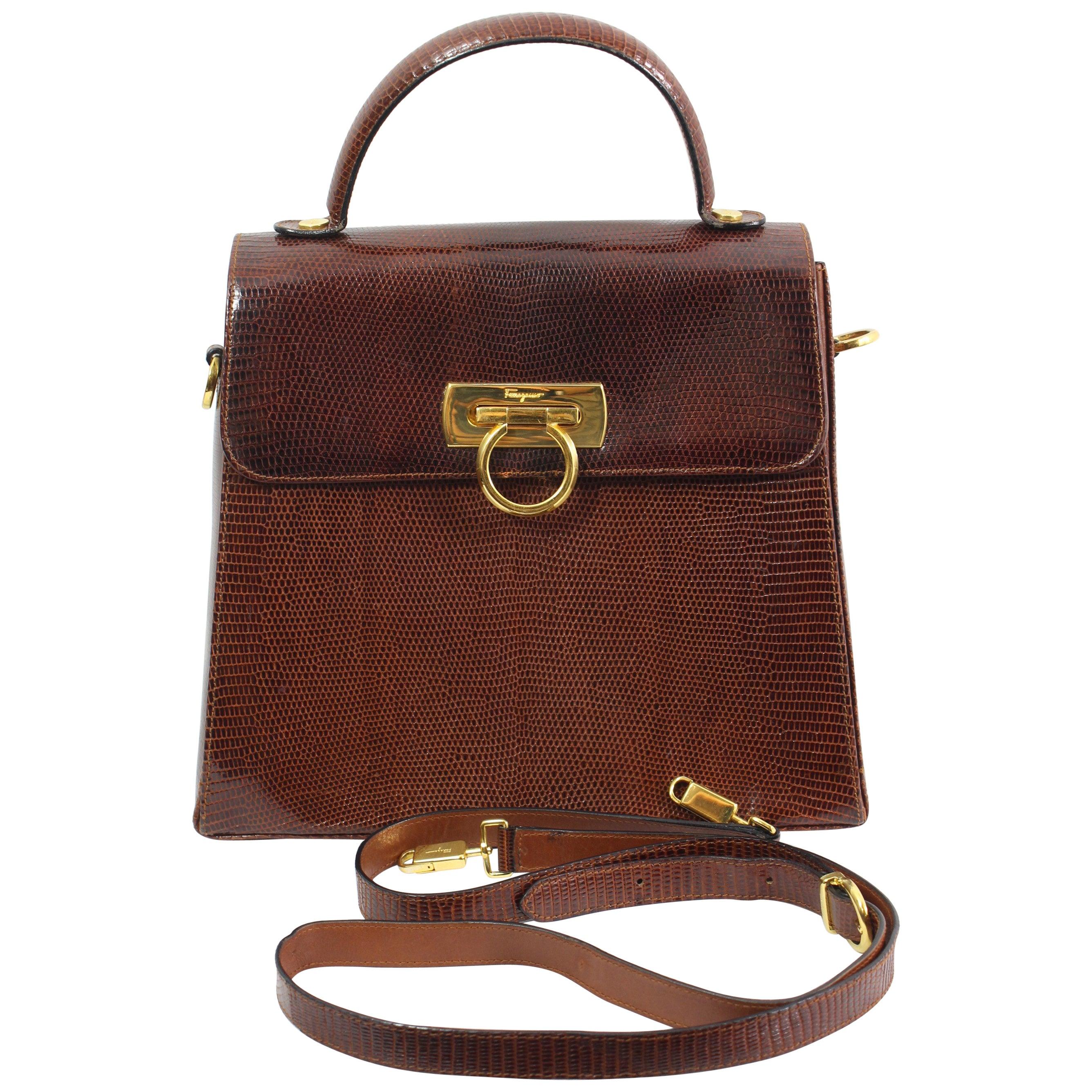 a15ea943a495 Vintage Salvatore ferragamo Lezard Crossbody Bag at 1stdibs