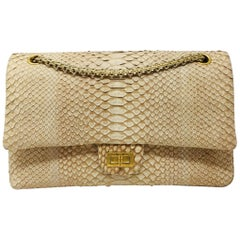 Chanel Reissue 2.55 Gold Nude Python Exotic Leather Shoulder Bag