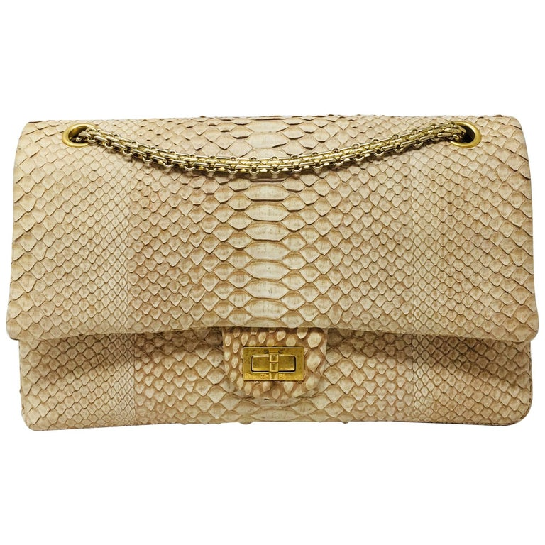 6778ee618846bb Chanel Reissue 2.55 Gold Nude Python Exotic Leather Shoulder Bag For Sale