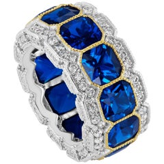 Magnificent Costume Jewelry Stunning Sapphire Diamond Half Inch Wide Band