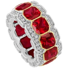 Magnificent Costume Jewelry stunning synthetic Ruby diamond half inch wide