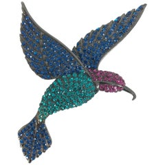 Thelma Deutsch large rhinestone humming bird brooch, 1980s
