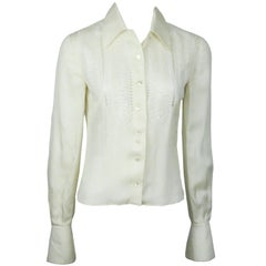 Valentino Ivory Silk Long Sleeve Top w/ Eyelet Detail - 4