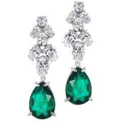 Magnificent Costume Jewelry Emerald Diamond Delicate Chandelier Earrings