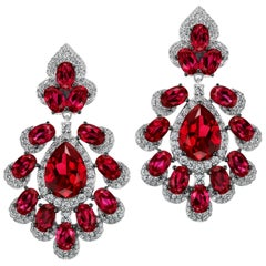 Magnificent Costume Jewelry Synthetic Diamond Ruby Peacock Earrings