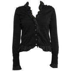 Louis Vuitton Black Wool Cardigan with Silk Jacquard Ruffle Trim - S