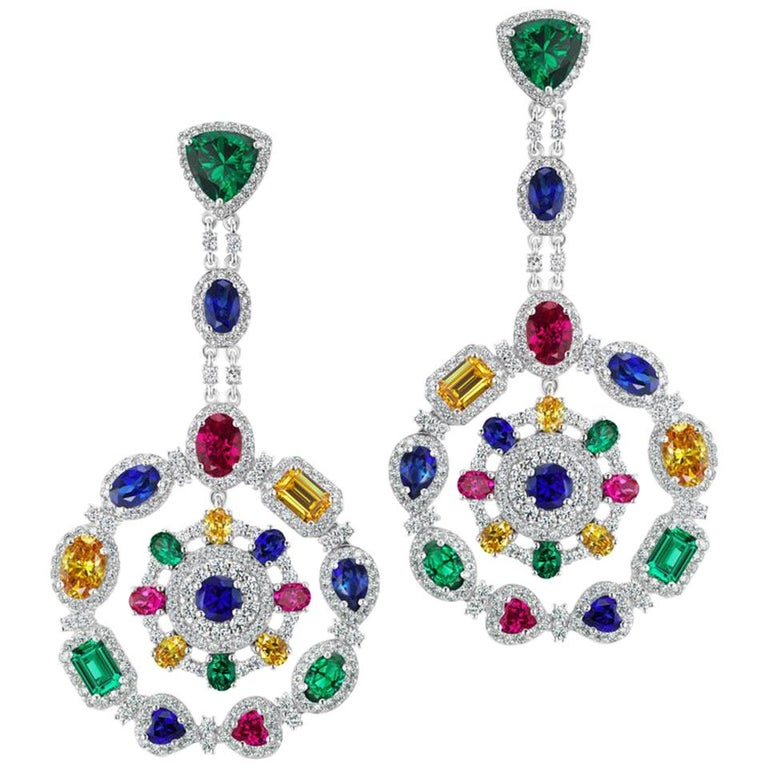 Magnificent Costume Jewelry Multi Color Gem Wreath Circle Chandelier Earrings For Sale