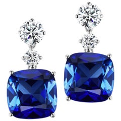 Magnificent Costume Jewelry Chic Faux Cushion Sapphire Drop Earrings