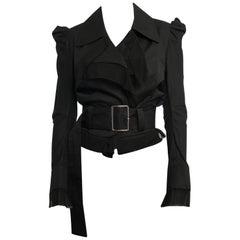 Yohji Yamamoto Black Cotton Belted Jacket - S