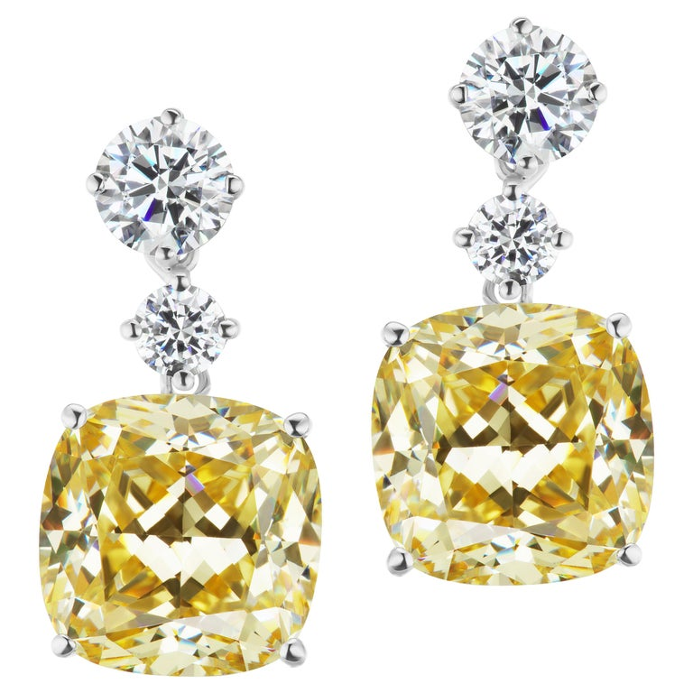 Magnificent Costume Jewelry Chic Faux Cushion Canary Diamond Drop Earrings For