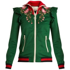 """Gucci Pre-Fall 2017 Green Zip Front """"Hollywood"""" Tiger Track Jacket - S"""