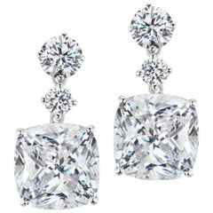 Magnificent Costume Jewelry Chic Faux Cushion Diamond Drop Earrings