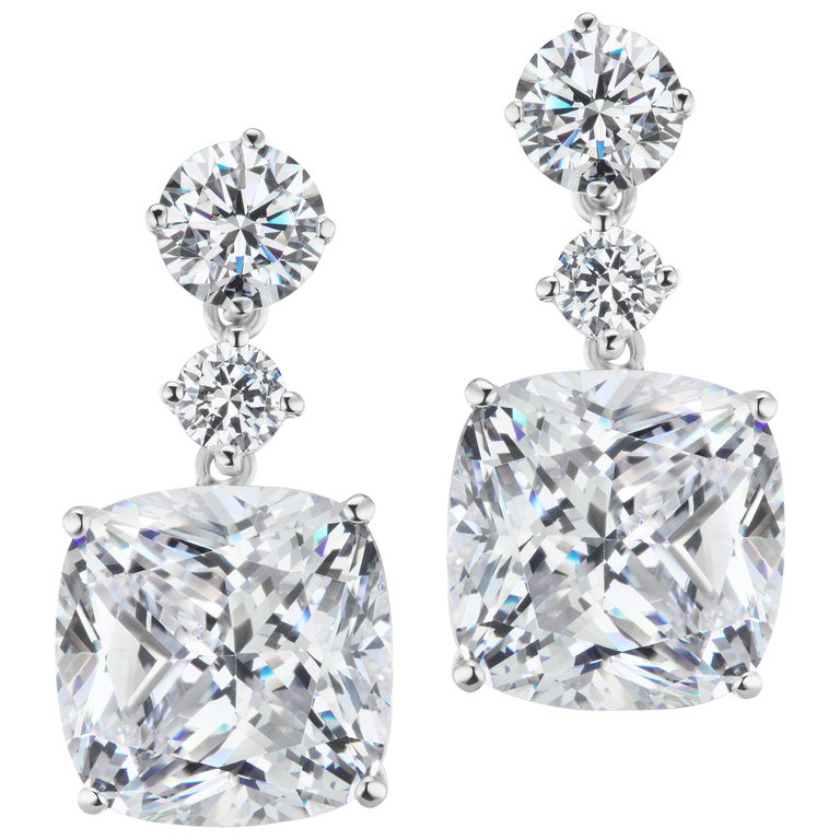 Magnificent Costume Jewelry Chic Faux Cushion Diamond Drop Earrings For