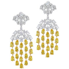 Magnificent Costume Jewelry Canary Diamond Waterfall Chandelier Earrings