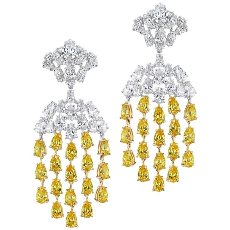 Magnificent Costume Jewelry Canary Diamond Waterfall Chandelier Earrings For